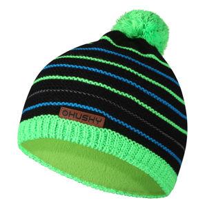 Husky  Cap 34 XS, černá/neon zelená Dětská čepice